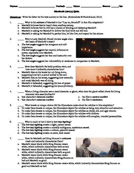 Macbeth Film (2015) 20-Question Multiple Choice Quiz