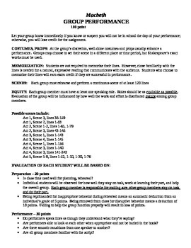 Macbeth Performance Project and Guidelines