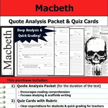 Macbeth - Quote Analysis & Reading Quizzes