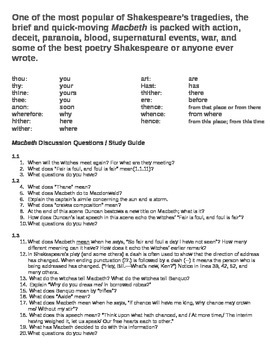 Macbeth Reading / Study Guide