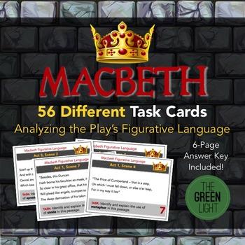 Macbeth Task Cards: Figurative Language Analysis, Quizzes,