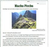 Machu Picchu Reading / Sub Plan