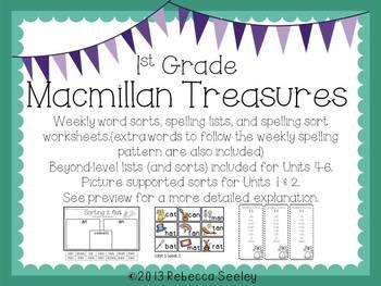 Macmillan Treasures Weekly Word Sorts
