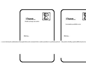 Macroeconomics Unit 7 International Economy Looping Cards