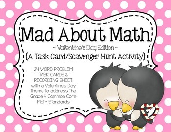 Mad About Math {A Valentine's Day Math Task Card Scavenger
