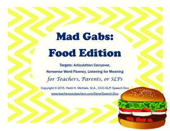 Mad Gabs: Food Edition