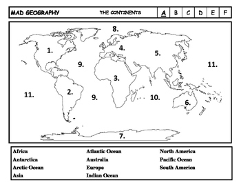Mad Geography Continents and Oceans Blank Map Tests
