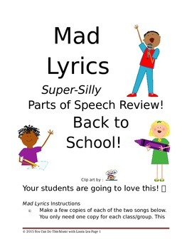 Mad Lyrics (Super-Silly Parts of Speech Review) Back to School!