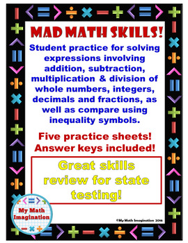 Mad Math Skills - Add, Subtract, Multiply, Divide, Fractio