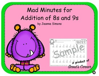 Mad Minutes Addition 8s and 9s
