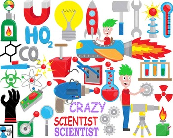 Crazy Scientist - Digital Clipart, Clip Art Graphics -114