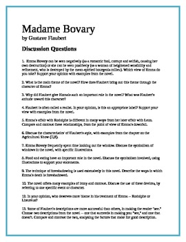 Madame Bovary discussion questions
