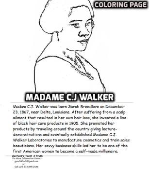 Madame C.J. Walker Coloring Sheet and Bio