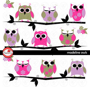Madeline Owls Digital Paper and Clipart Set by Poppydreamz