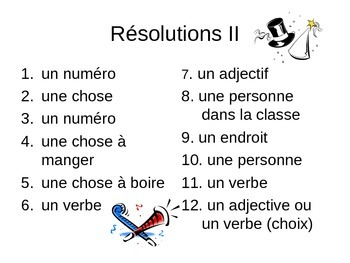 Madlib New Year's Resolutions for French Class