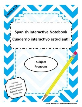 Maestra In Middle Spanish Interactive Notebook Subject Pronouns
