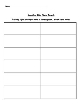 Magazine Sight Word Search