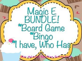 Magic E BUNDLE!  3 Cupcake Themed Activities!  Board Game,