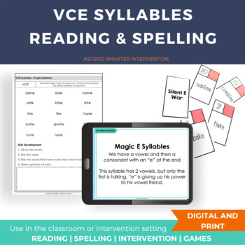 Magic E & Drop the E Reading and Spelling Activities