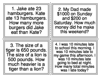 Magic E Mixed Addition Subtraction Word Problem Task Cards