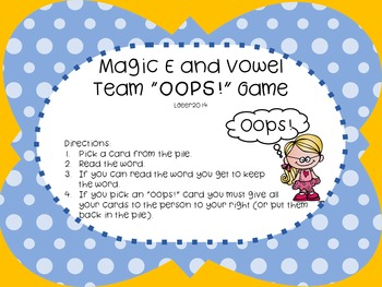 "Magic E and Vowel Team ""Oops"""