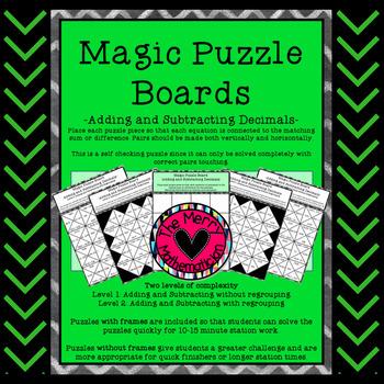 Magic Puzzle Boards Adding and Subtracting Decimals