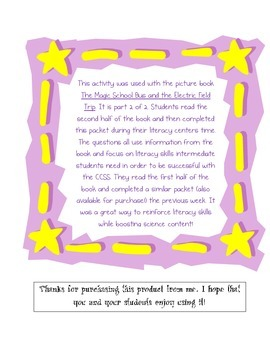 Magic School Bus Electric Field Trip - Literacy Skills Pac