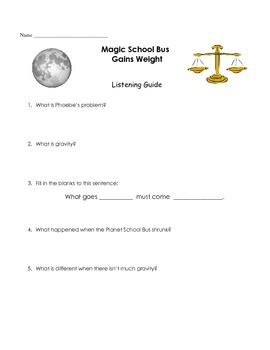 """Magic School Bus """"Gains Weight"""" Listening Guide - Gravity"""