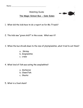 "Magic School Bus ""Gets Eaten"" Listening Guide - Food Chain"