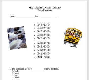 "Magic School Bus ""Rocks and Rolls"" Video Questions (weathe"