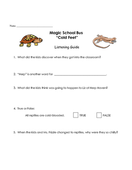 Magic School Bus listening guide - Cold Feet (reptiles. co