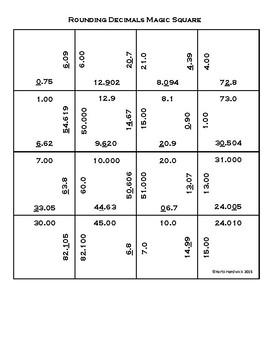 Magic Square Puzzle: Rounding Decimal Numbers