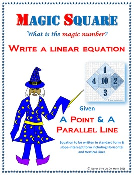Magic Square - Writing Linear EQ from point & parallel lin