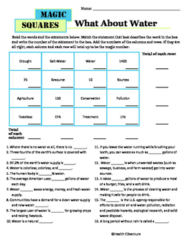 Magic Math Squares: What About Water
