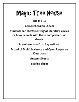 Magic Tree House Chapter Book Test 1-13, comprehension tes