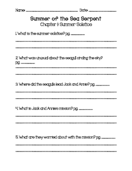 Magic Tree House Summer of the Sea Serpent Questions
