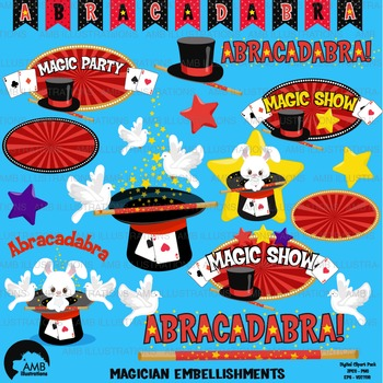 Magic clipart, Magician Show clipart, Magic embellishments