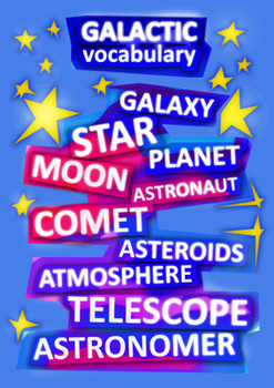 Magical Poster with Space Vocabulary A4