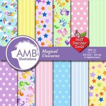 Digital Papers - Unicorn papers and backgrounds, Magical U
