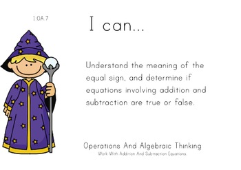 Magician Theme 1st grade math Common Core Posters first Gr