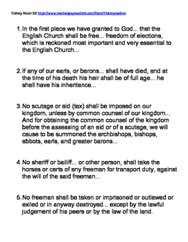 Magna Carta Handout with Primary Source Quotes