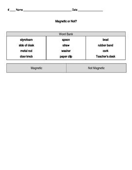 Magnetic or Not? Worksheet
