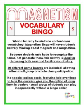 Magnetism Vocabulary bingo