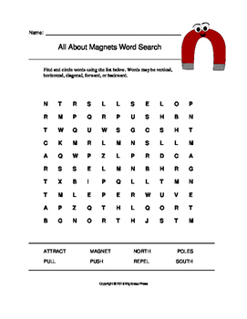 All About Magnets Word Search (Grades 1-3)