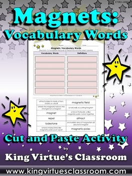 Magnets: Vocabulary Words Cut and Paste Activity #1 - King
