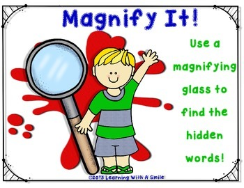 Magnify It! ~ Use a Magnifying Glass to Find the Hidden Wo