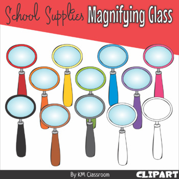 Magnifying Glass in Rainbow Colors - Clip Art