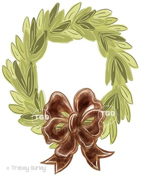 Magnolia Wreath with and without Brown bow Printable Trace