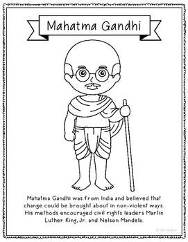 Mahatma Gandhi Coloring Page Activity or Poster with Mini