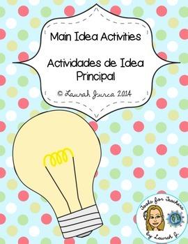 Main Idea Activities and Printables / Actividades de Idea